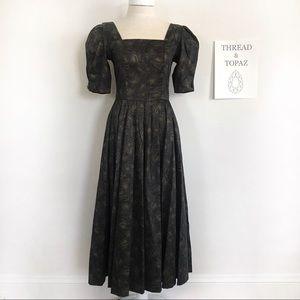 Vintage Laura Ashley Black & Gold Floral Dress